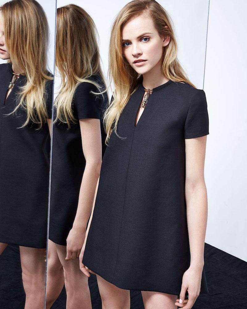 Valentino Short-Sleeve Shift Dress with Elephant Charm