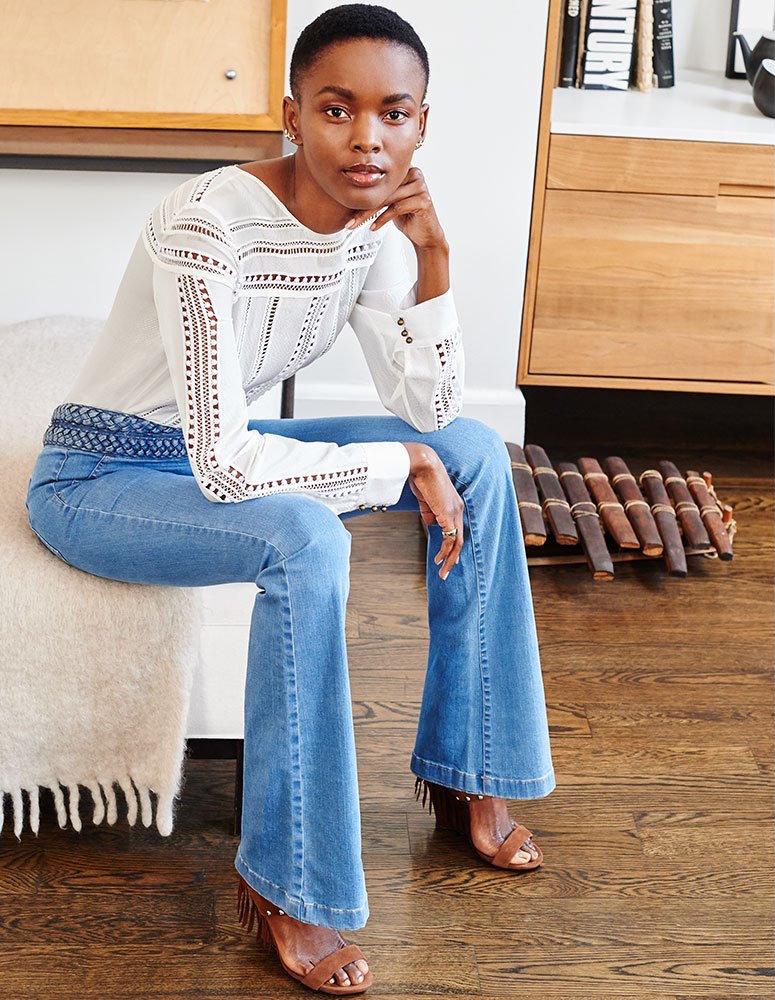 Veronica Beard Biscayne Braided High Waisted Jeans