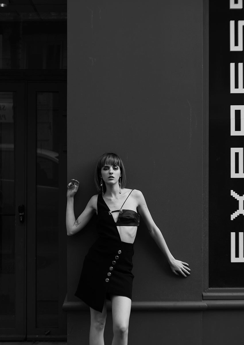 Versus Black Asymmetric Anthony Vaccarello Edition Dress