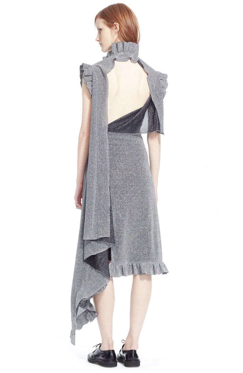 Vetements Metallic Ruffle Midi Dress