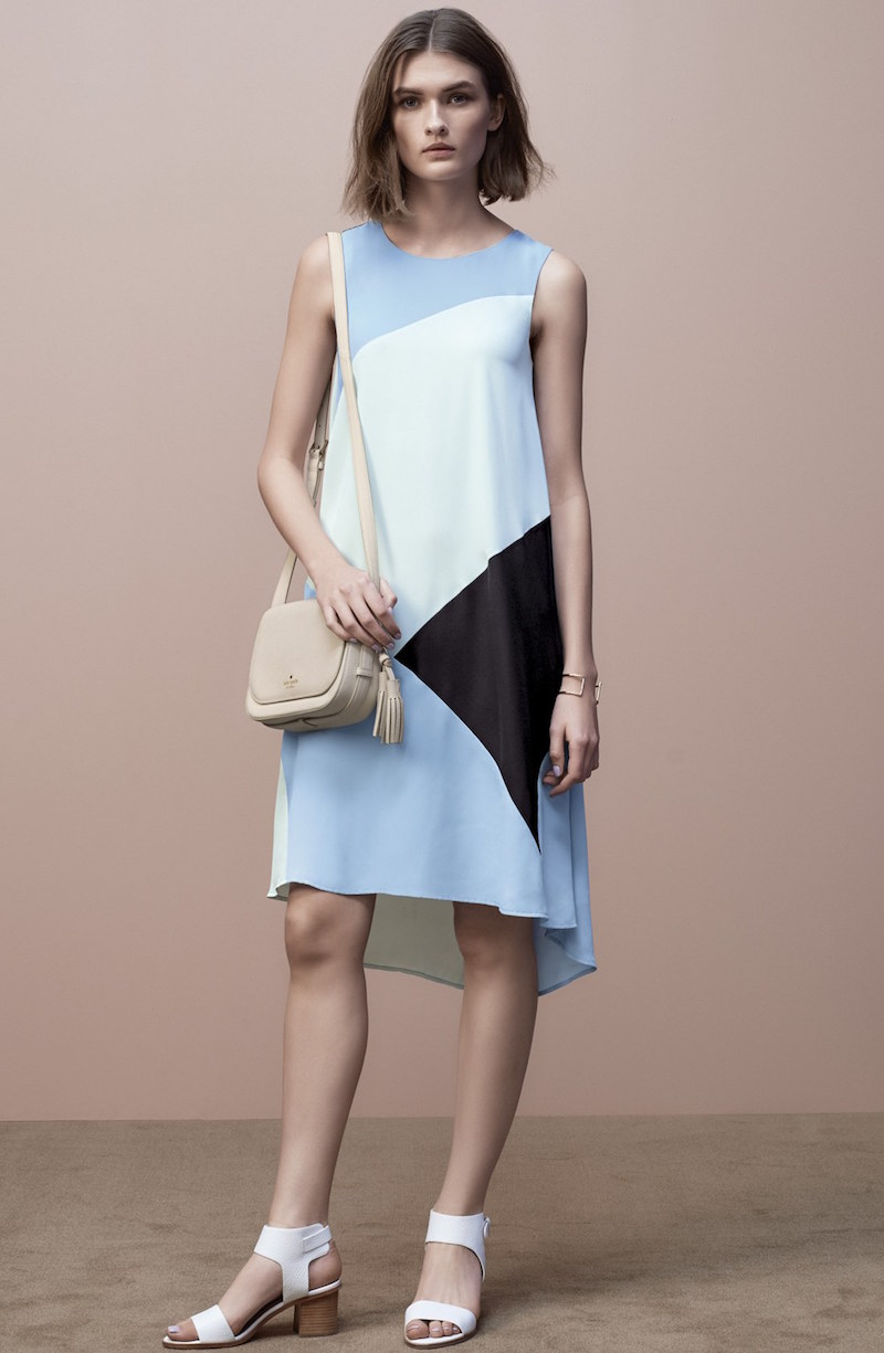 Vince Camuto Colorblock High Low Hem Shift Dress
