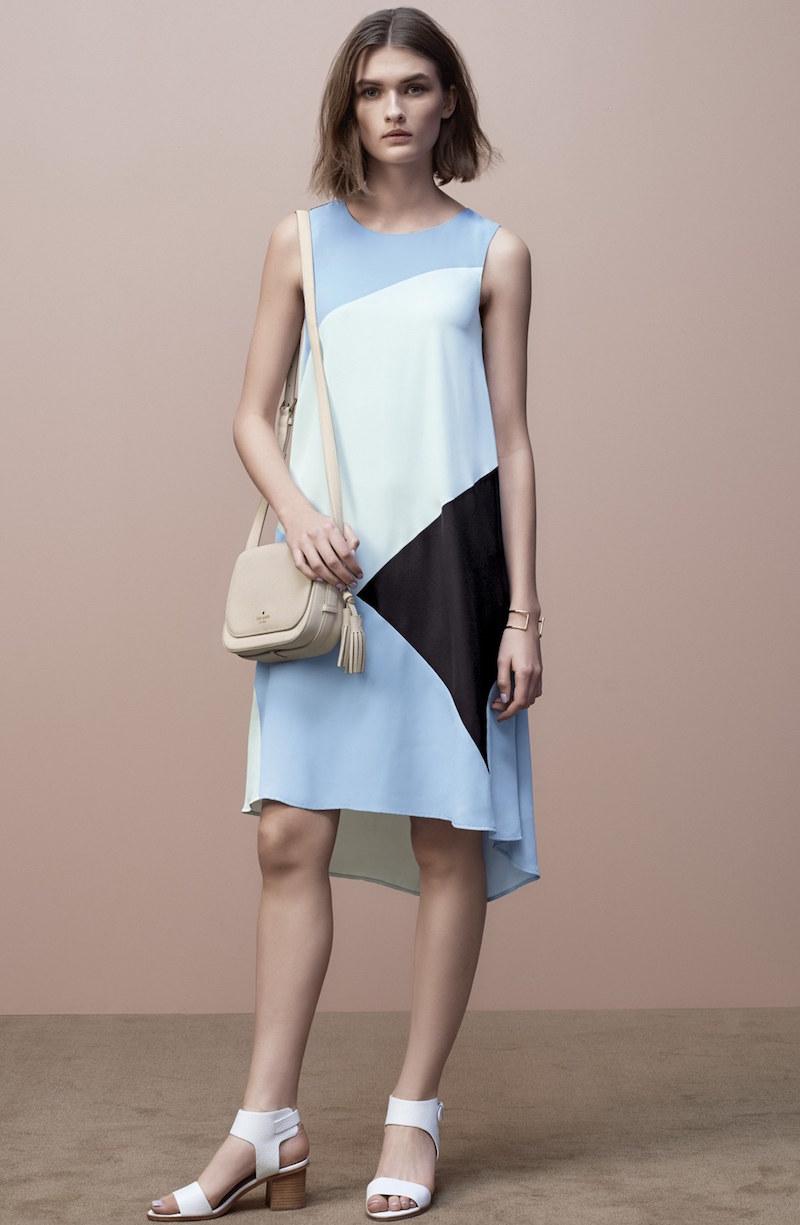 Vince Camuto Colorblock High Low Hem Shift Dress