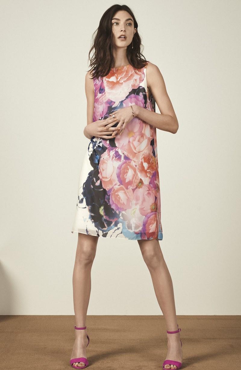 Vince Camuto Floral Chiffon Shift Dress