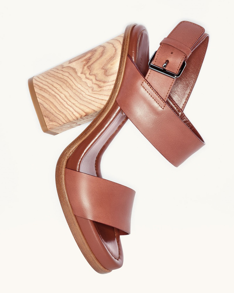 Vince Haley Leather Two-Band Wooden Sandal