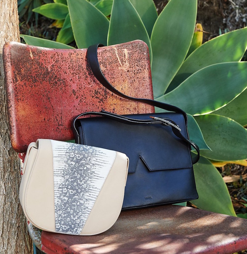 Vince Lizard Embossed Mini Saddle Bag