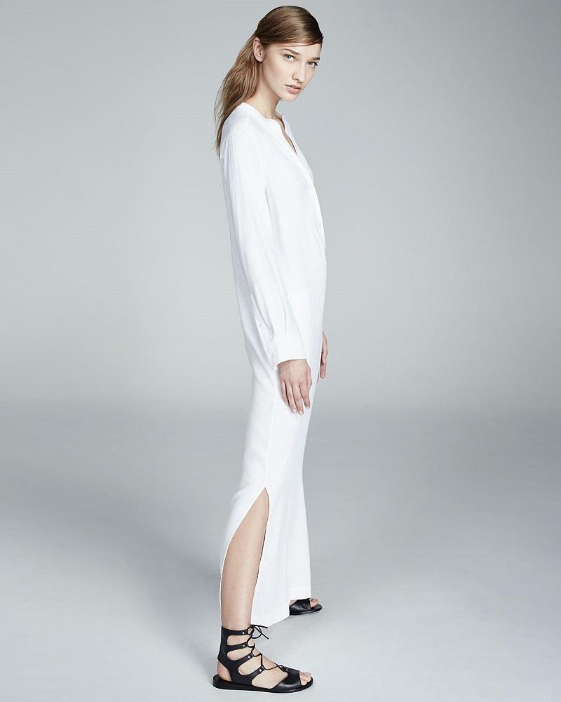 Vince Long-Sleeve Linen Dress