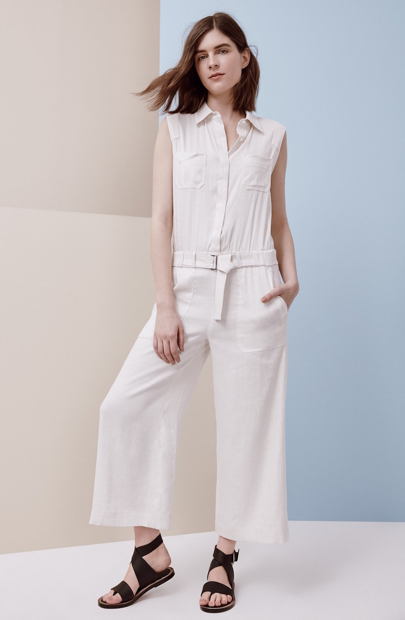 Vince Sleeveless Linen Blend Jumpsuit