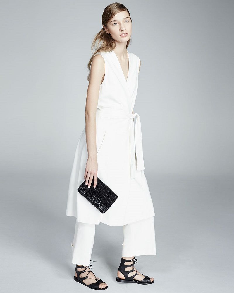 Vince Sleeveless Side-Slit Wrap Vest