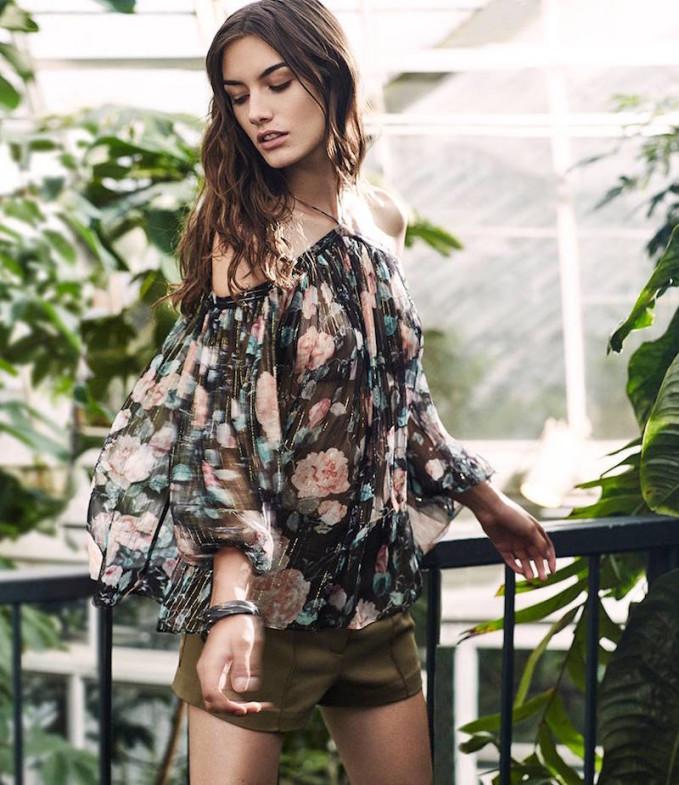Zimmermann EXCLUSIVE Cut Out Shoulder Lurex Floral Print Blouse