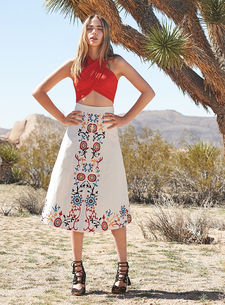 alice + olivia Giselle Embroidered Skirt