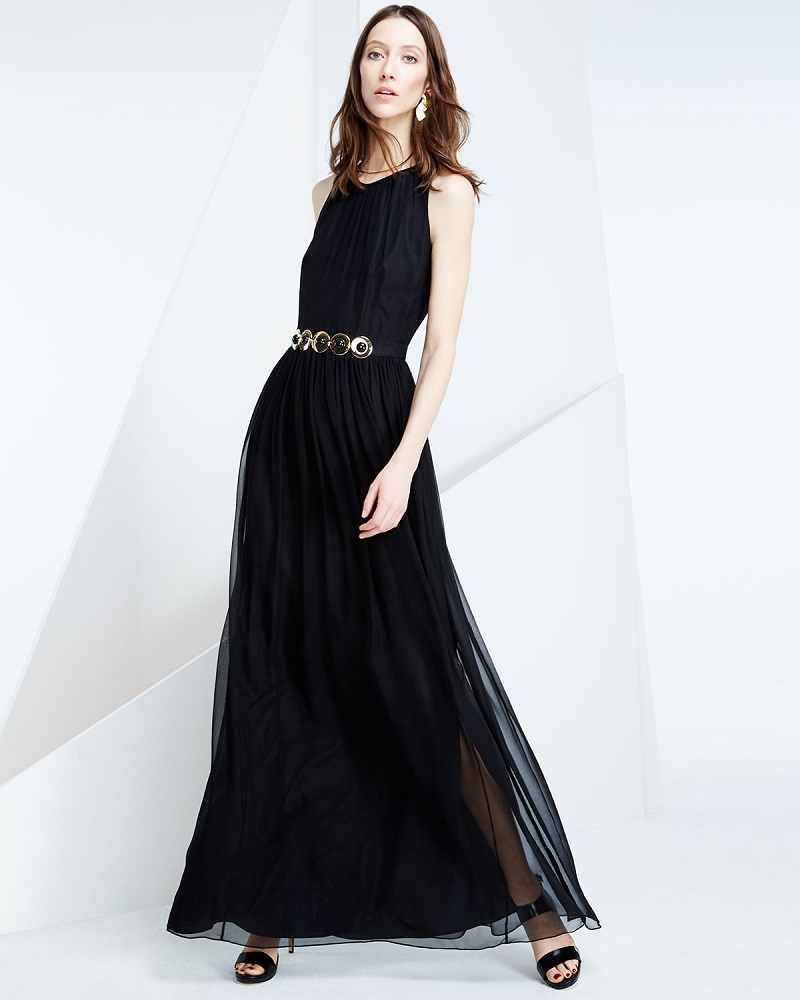 kate spade new york sleeveless embellished-waist maxi dress