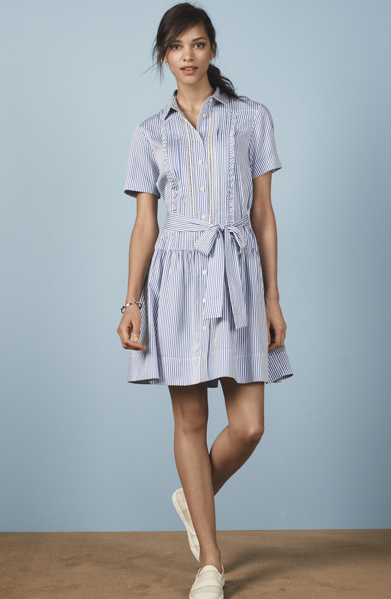 kate spade new york stripe pleated shirtdress