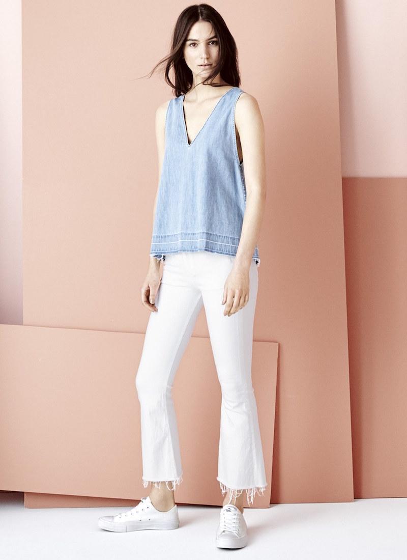 rag & bone/JEAN Raw Hem Crop Flare Jeans
