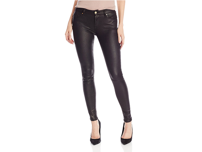 7 For All Mankind Crackle Leather-Like Skinny Jean