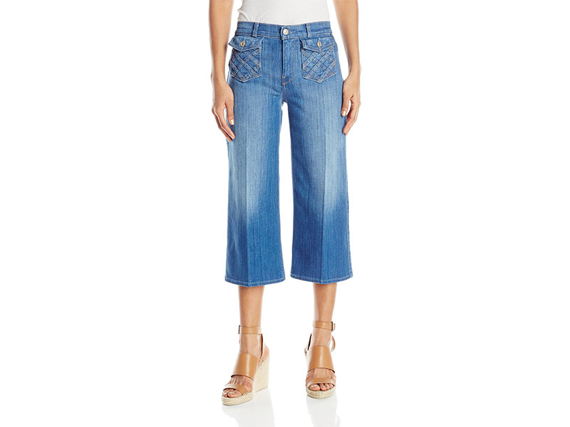 7 For All Mankind Lattice Pocket Culotte Jean In Authentic Washed Indigo