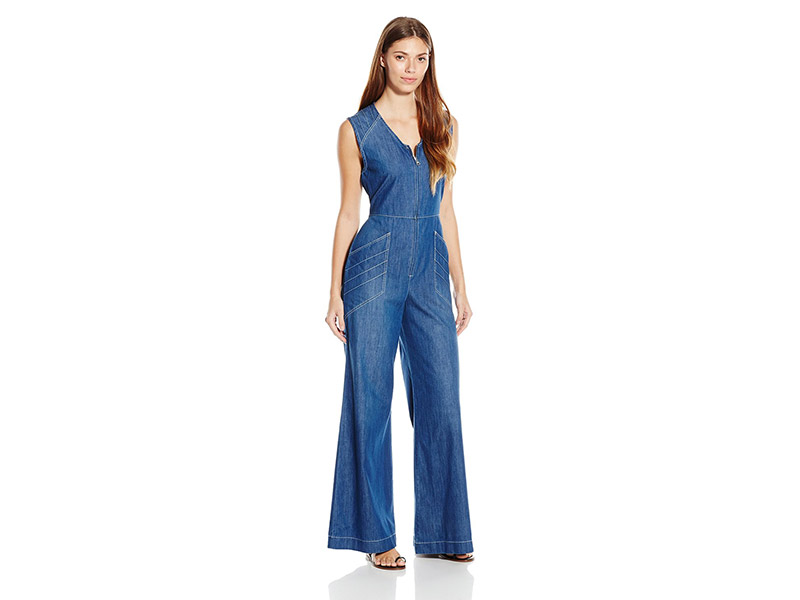 7 For All Mankind Wide Leg Denim Jumpsuit with Topstitching