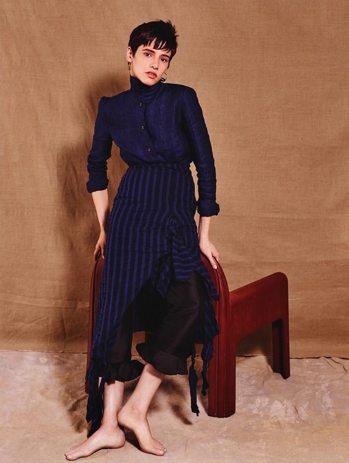 A.W.A.K.E. Striped Ruched Midi Skirt