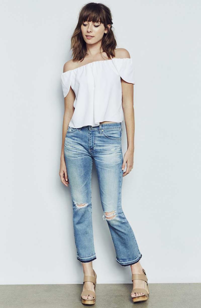AG Jodi Released Hem Crop Slim Flare Jeans