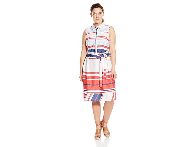 AGB Plus-Size Womans Multi Stripe Button Front Shirt Dress