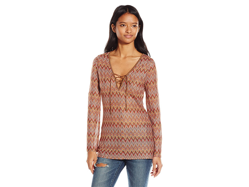 ALMOST FAMOUS Long Bell Sleeve Top with Lace Up Front