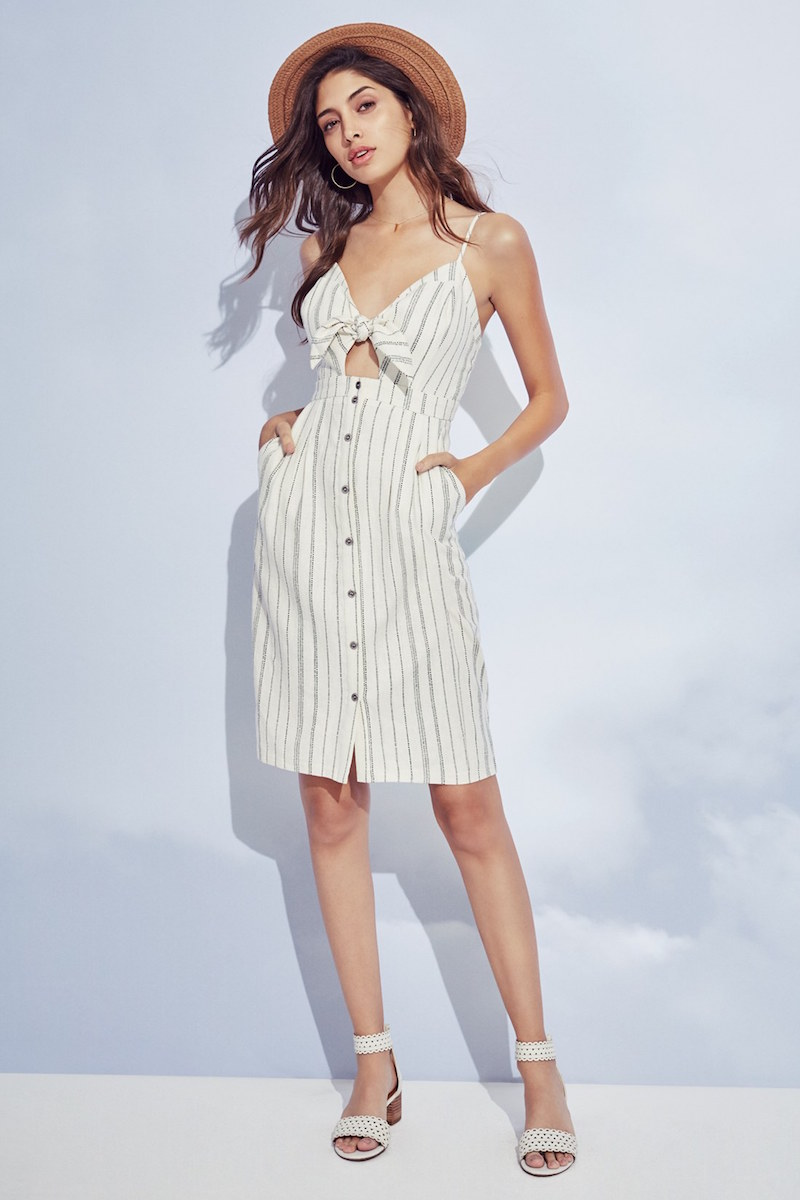 ASTR Tie Front Button Down Midi Dress