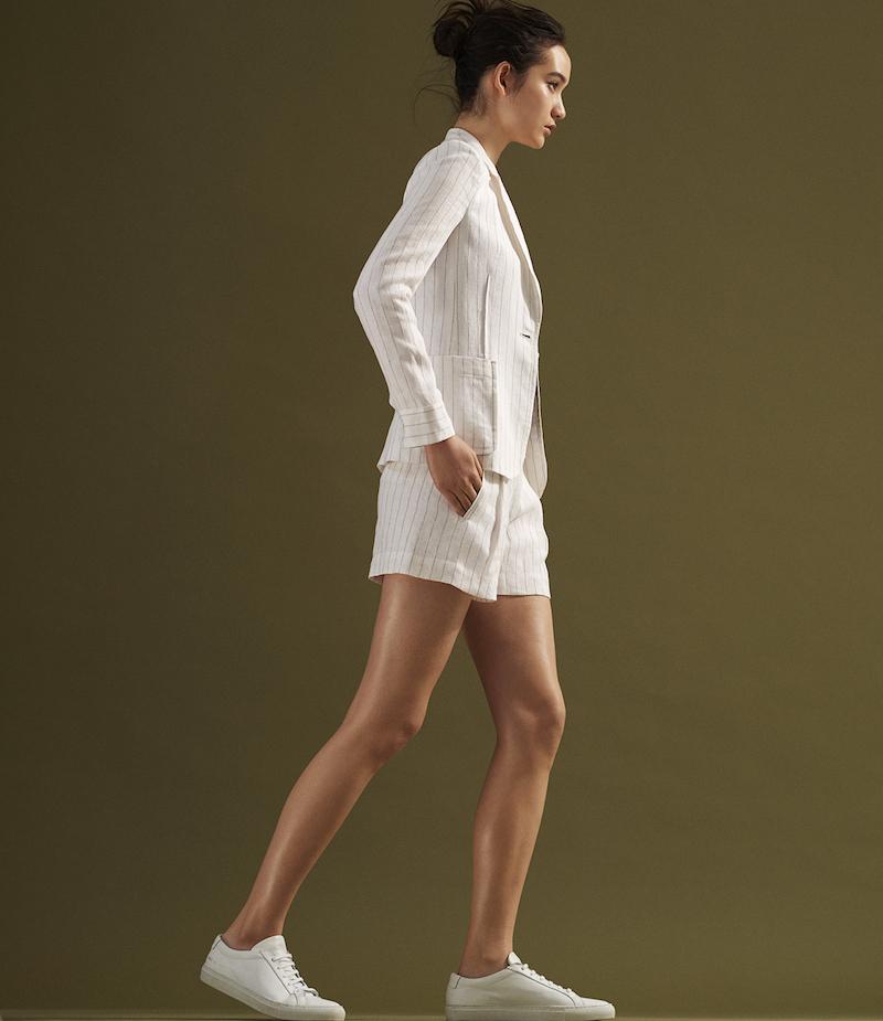 ATM Anthony Thomas Melillo Striped Slub-Weave Boyfriend Shorts