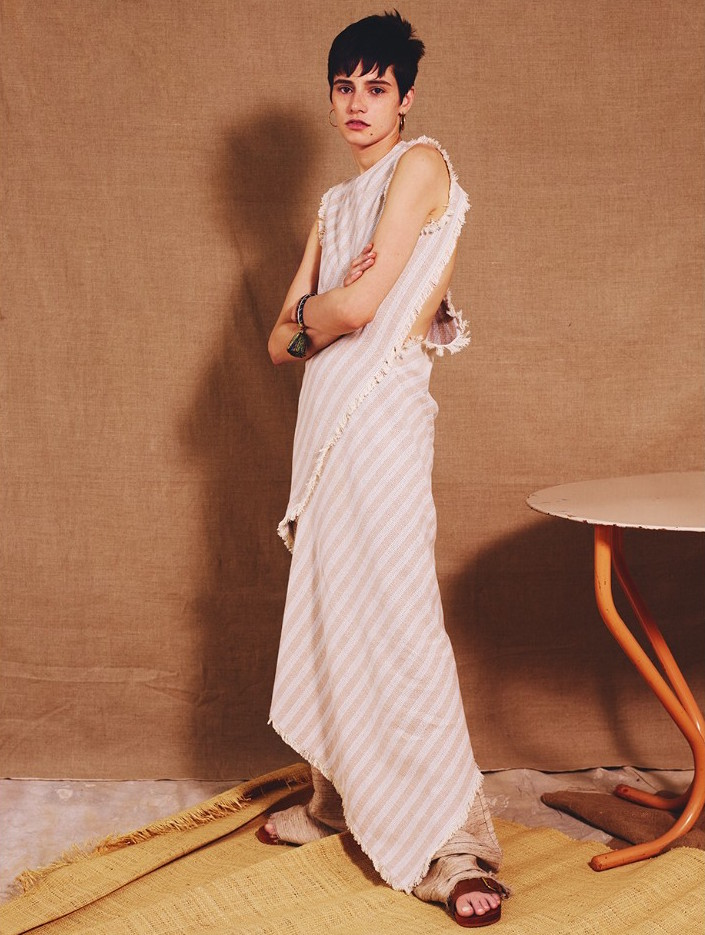 Acne Studios Cosby Striped Asymmetric-hem Dress
