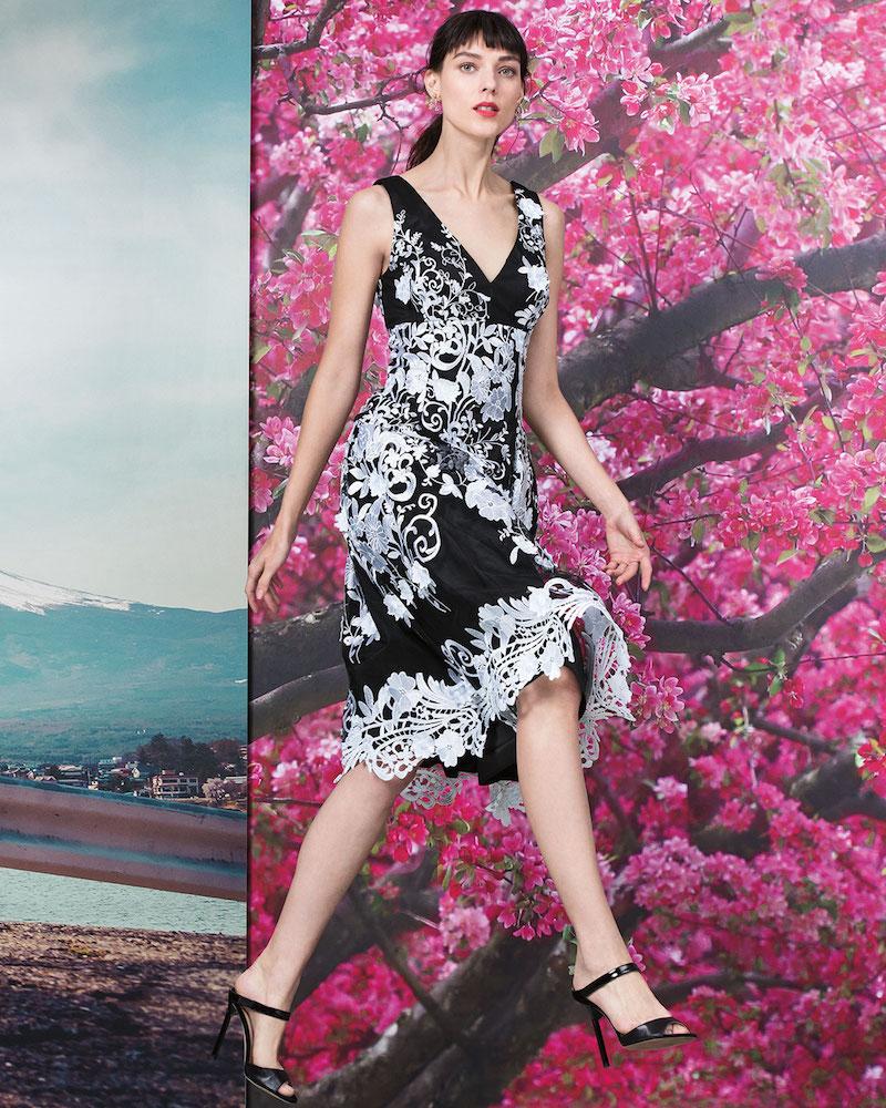 Aidan Mattox Sleeveless Floral A-line Cocktail Dress