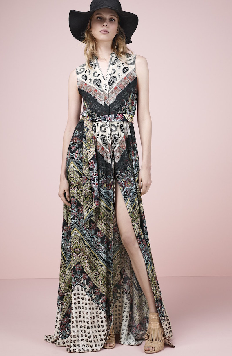 Alice + Olivia Marianna Mixed Print Maxi Dress