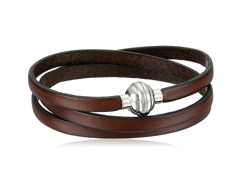 Amazon Collection Leather and Stainless Steel Magnetic-Clasp Bracelet