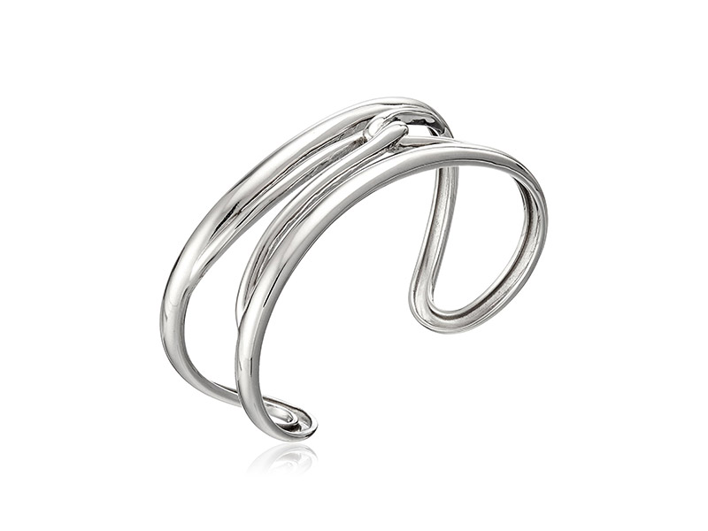 Amazon Collection Rhodium Plated Sterling Silver Cuff Bracelet