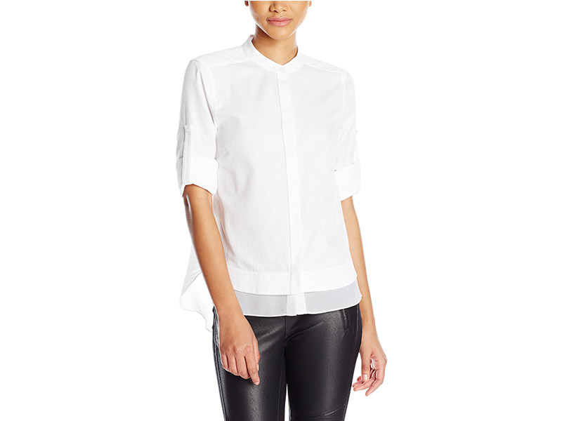 BCBGMAXAZRIA Kaikee Blocked Two Layer Woven Top