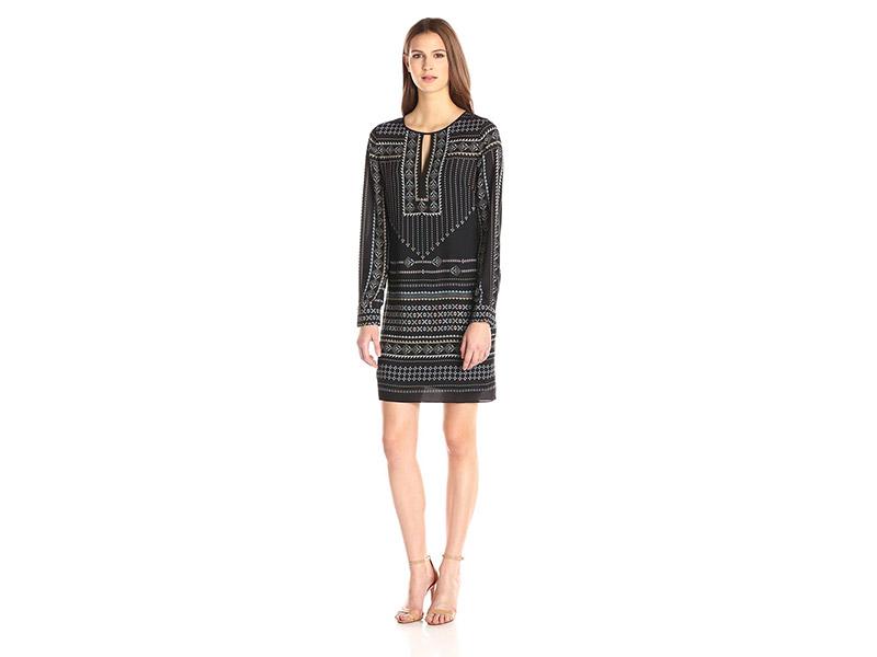 BCBGMax Azria Freya Long Sleeve Scarf Print Tunic Dress