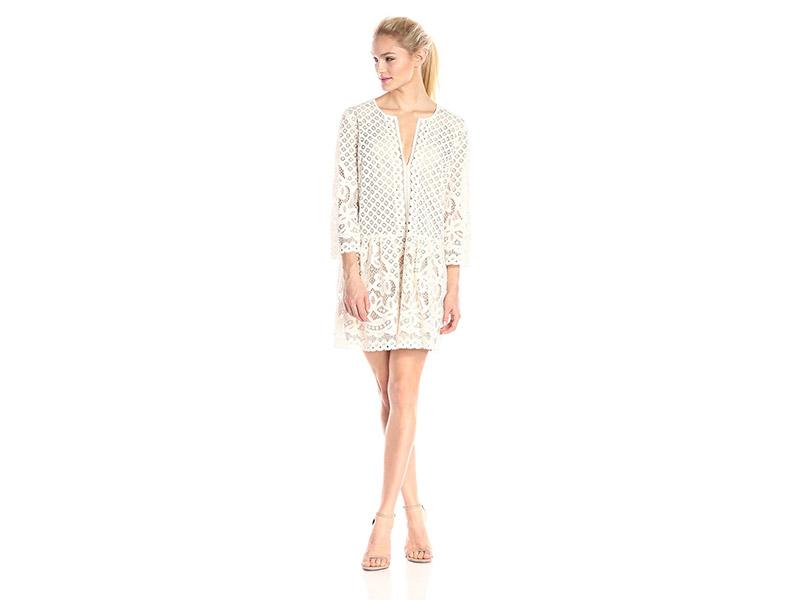 BCBGMax Azria Laurice Lace Slit-Neck Tunic Dress