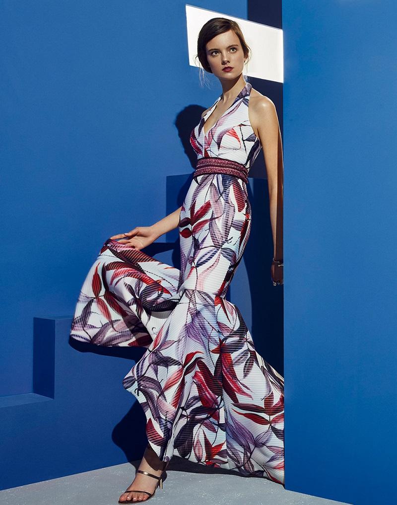 Badgley Mischka Floral Macrame Halter Silk Gown