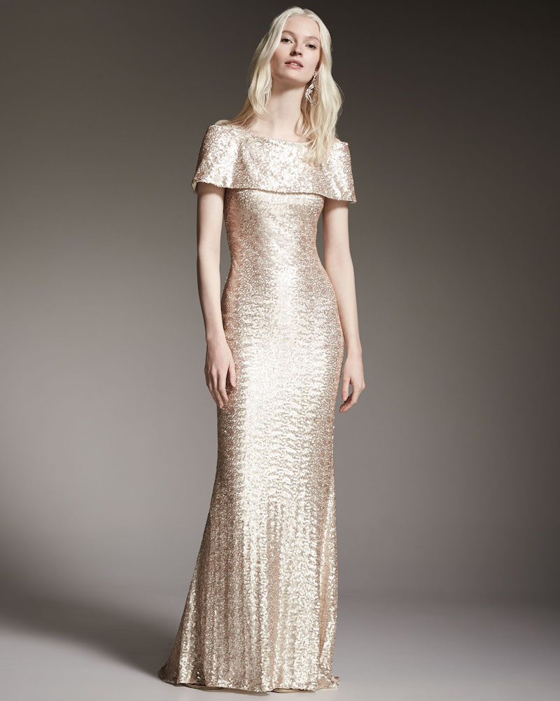 Badgley Mischka Off-The-Shoulder Sequined Gown