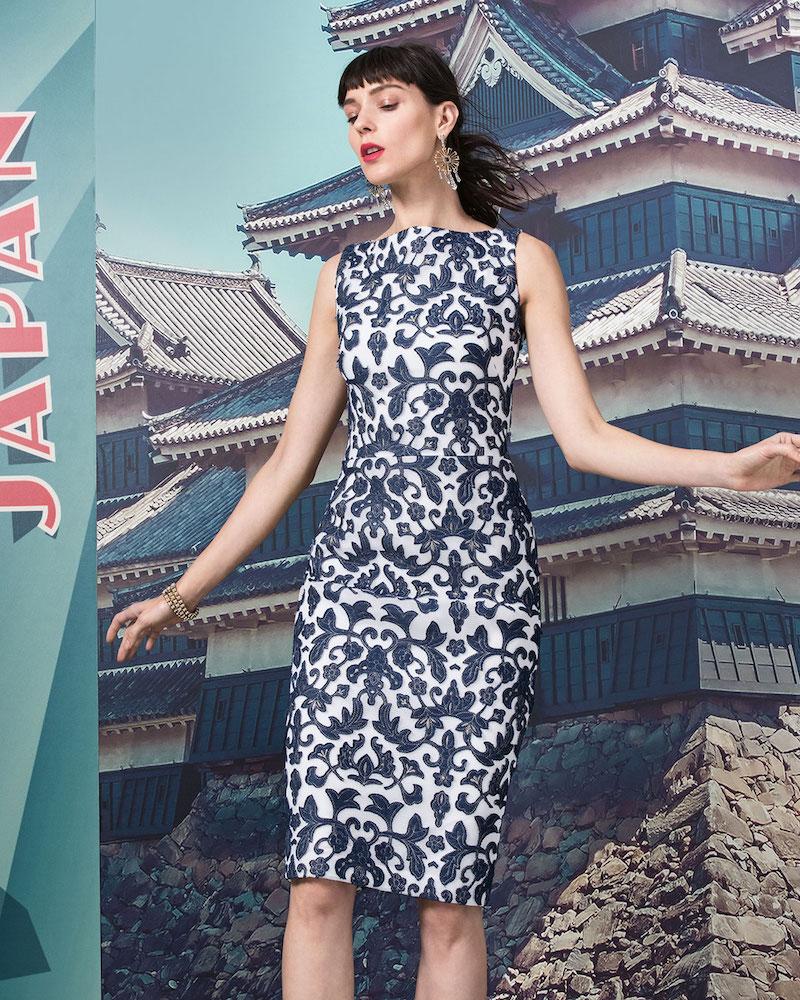 Badgley Mischka Sleeveless Floral-Print Sheath Dress
