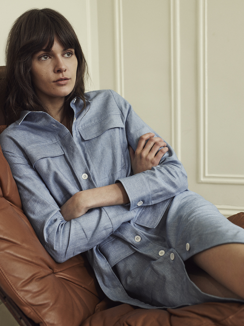 Barneys New York Belted Chambray Dress