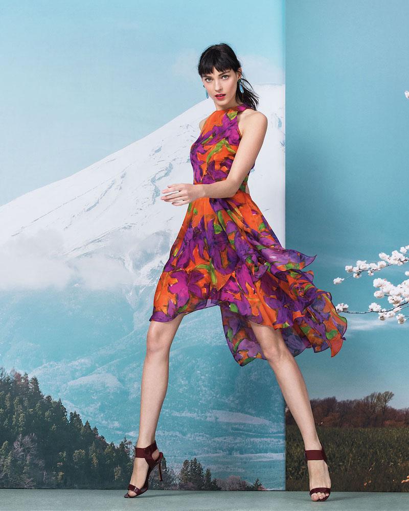 Carmen Marc Valvo Sleeveless Floral-Print Silk Dress