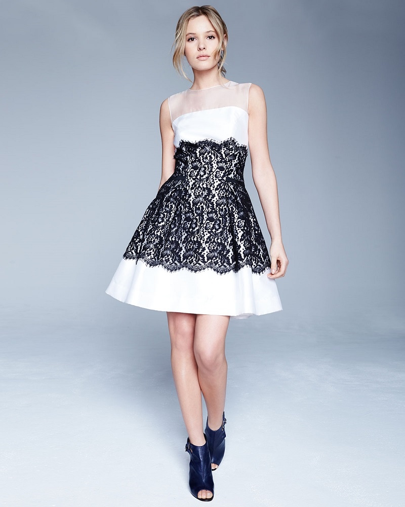 Carolina Herrera Sleeveless Mikado-Lace Cocktail Dress