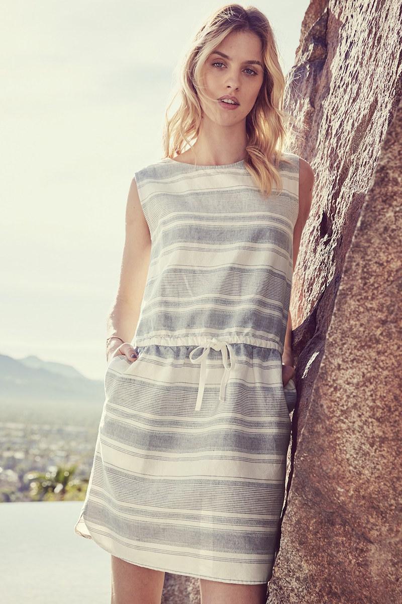 Caslon Print Sleeveless Drawstring Waist Linen Dress
