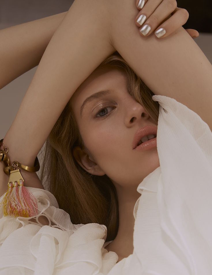 Chloé Ruffled Lace-trim Silk-crépon Top
