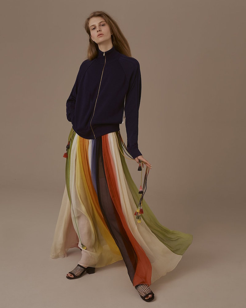 Chloé Rainbow Gathered Silk-chiffon Dress