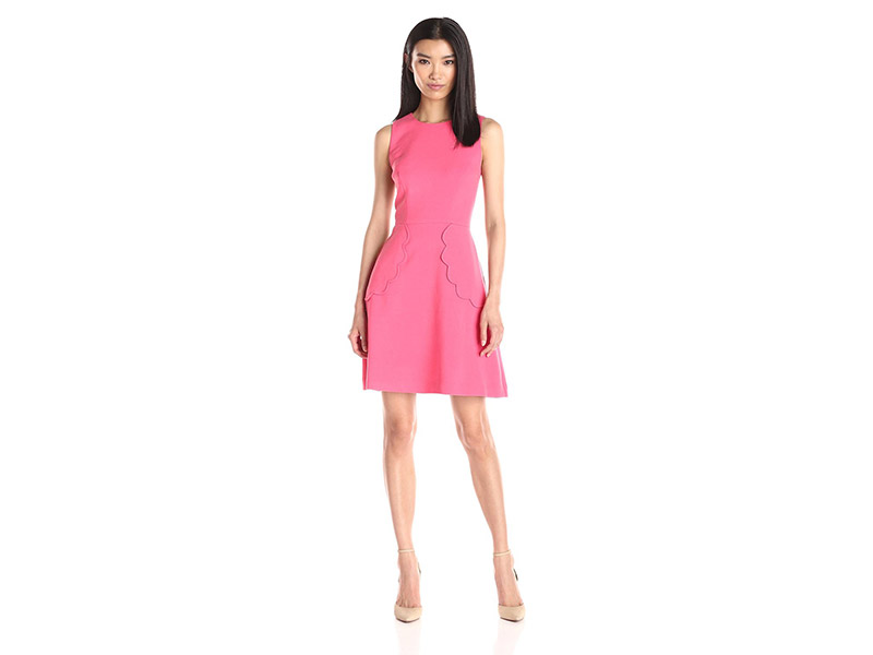 Eliza J Fit-and-Flare Dress with Scallop Detail
