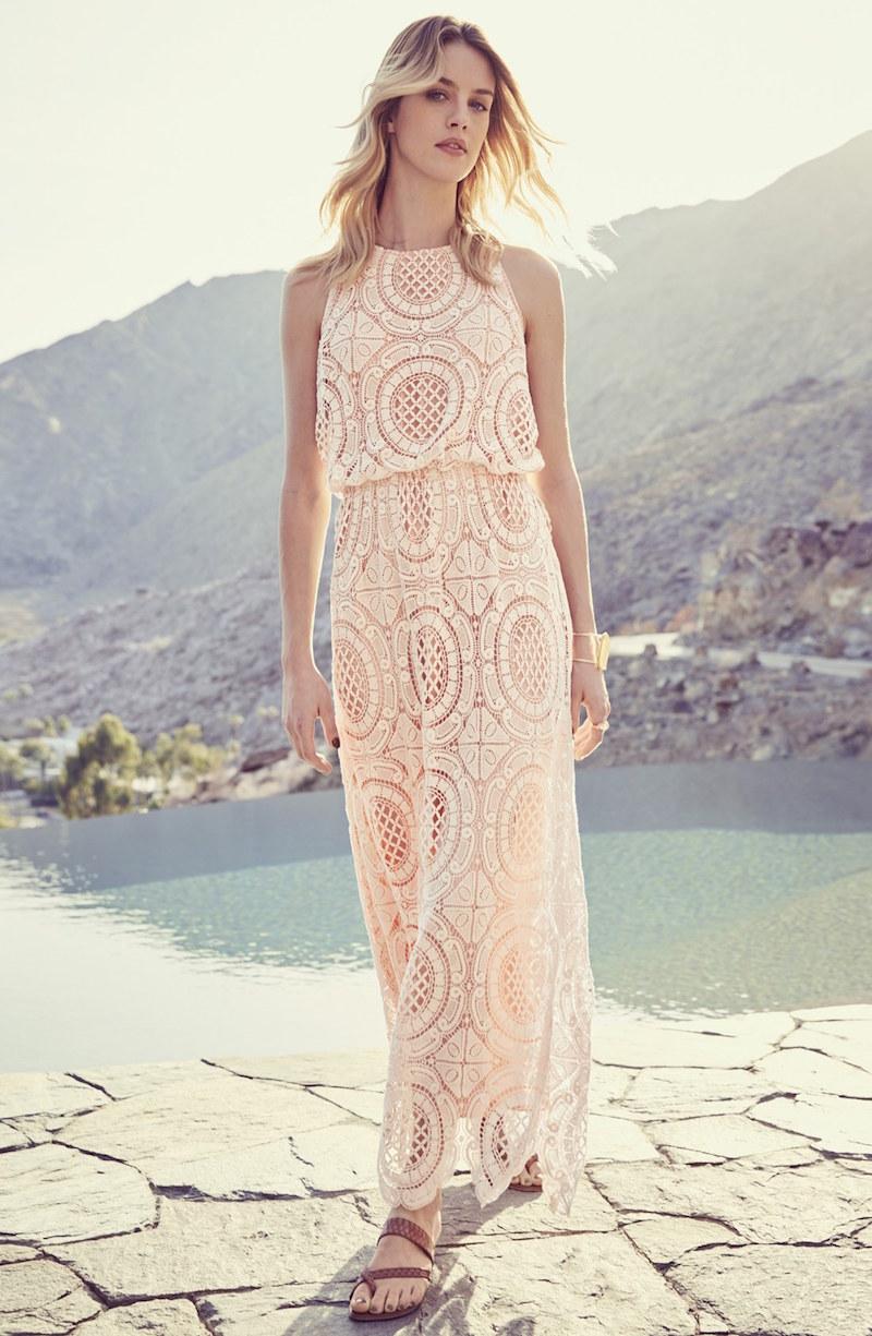 Eliza J Lace Blouson Maxi Dress