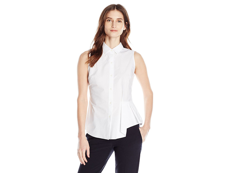 Ellen Tracy Button Front Side Flounce Shirt