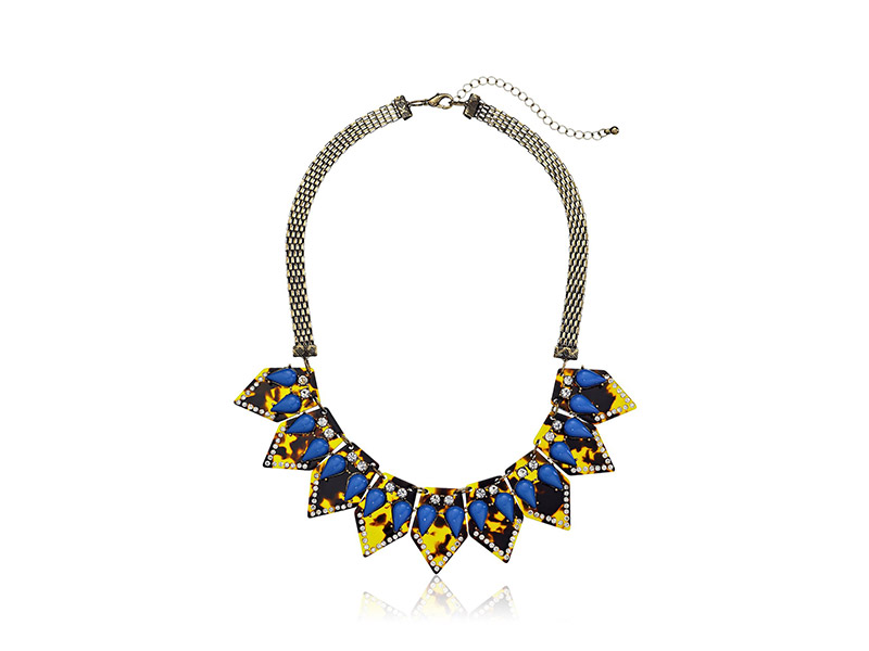 Faux Tortoise Shell and Crystal Geometric Statement Necklace