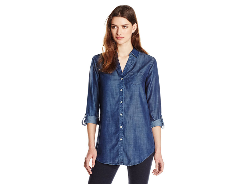 Foxcroft Long Sleeve Roll-tab Solid Denim Tencel Tunic