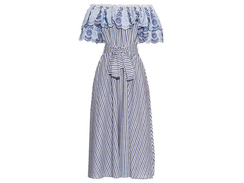 Gül Hürgel Off-the-shoulder Ruffle-trimmed Striped Midi Dress