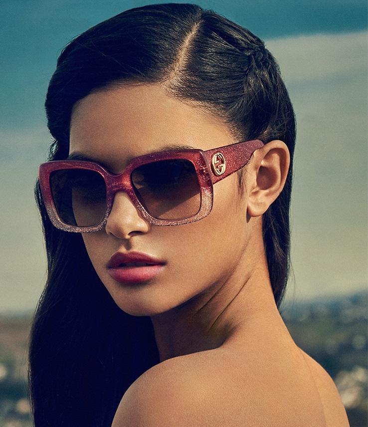 Gucci 53MM Oversized Square Glitter Sunglasses